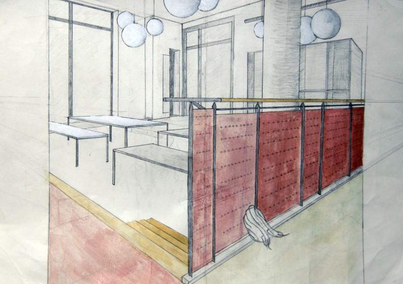 Celine Johnston, Q12: Blick in die Aula; Aquarellierte Zeichnung