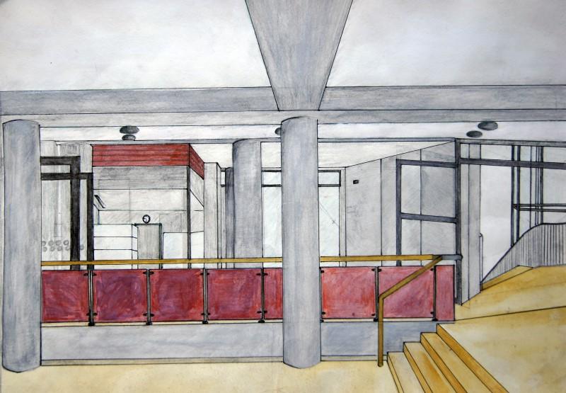 Paula Keilholz, Q12: Schulhaus; Aquarellierte Zeichnung