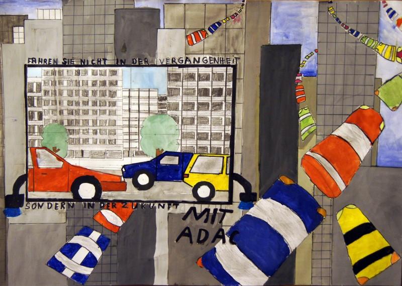 Malte Schorb, 6c: Mobilität der Zukunft; Wasserfarbe auf Papier