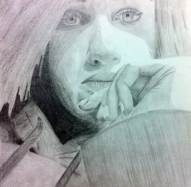 Paulina Diepers, Q11, Selbstporträt (Vorzeichnung), Bleistift